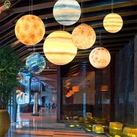 Nordic Creative Universe planet Earth pendant lights resin Living room Restaurant pendant lamp Hotel Cafe hanging light fixtures