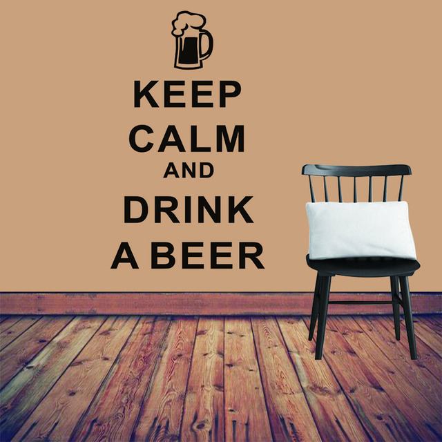 Keep Calm And Drink A Beer Vinyl Wall Sticker For Bar Living Room Bedroom Waterproof Wallpaper