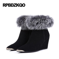 Ankle Real Fur Wedge Shoes Winter Snow Boots Women Black Pointed Toe Sexy Luxury Suede 2017