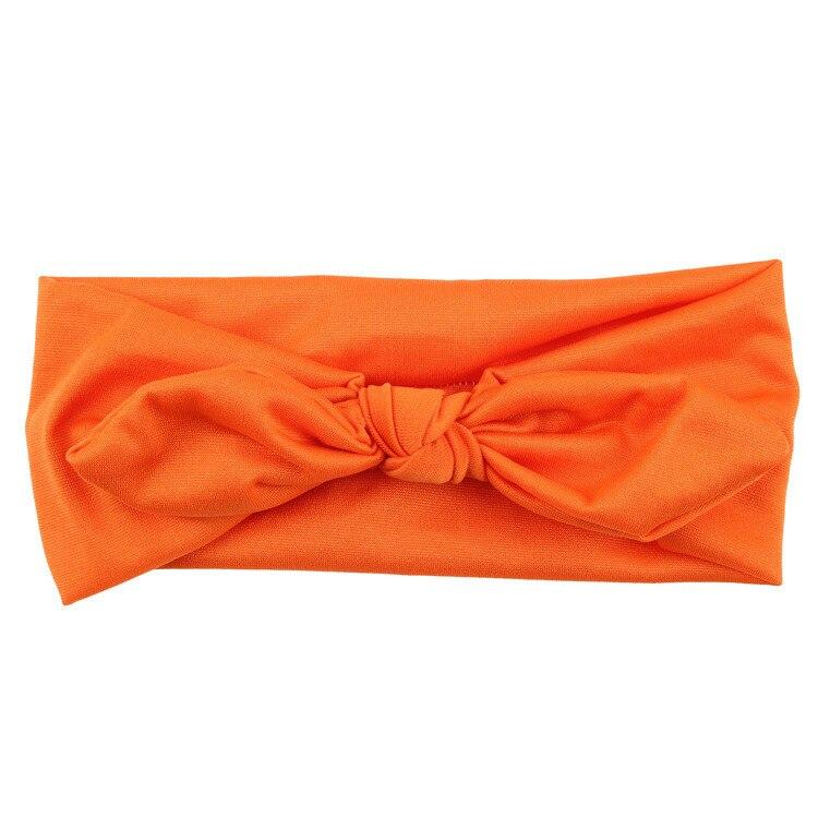 Новинка; Детская повязка на голову; Детские аксессуары для волос; Летние однотонные повязки на голову для маленьких девочек; повязка на голову с бантиком и ушками кролика - Цвет: Оранжевый