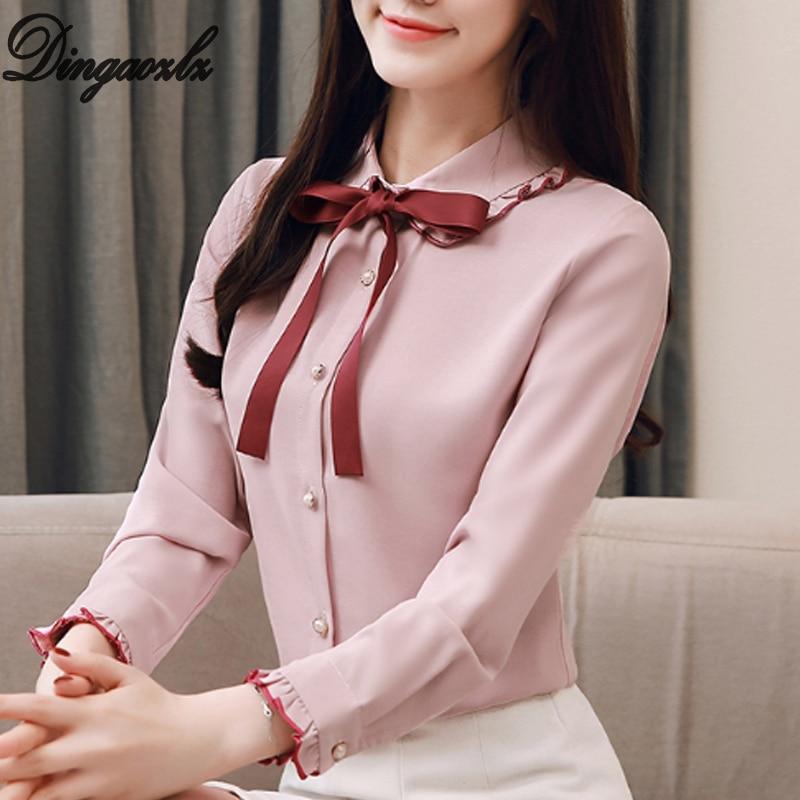 Dingaozlz New Spring 2019 Women clothing Elegant Bow tie Female Tops Sweet Chiffon   Blouse     shirt   Casual OL   shirt