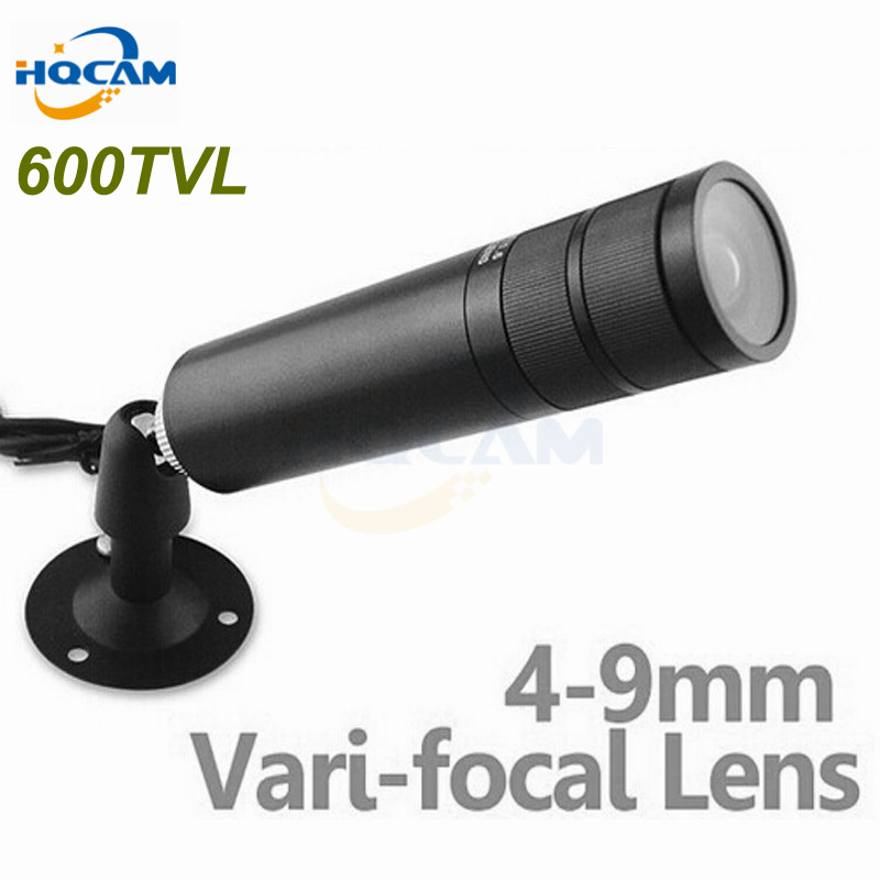 HQCAM Mini Bullet Camera 1/3 Sony CCD 600TVL Bullet CCTV Security Camera with 4-9mm Varifocal Lens ZOOM Camera mini bullet cvbs ccd camera 700tvl with headset mount for mobile surveillance security video 5v
