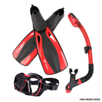 Brand Professional Diving Mask Set Adult Flexible Comfort Swimming Fins Dry snorkel Breathing Tube Submersible Long Diving Fins