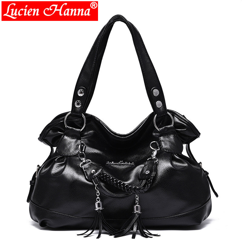New Large Capacity Shoulder Bag Women Handbags Tassel Female Casual Tote Bag Soft PU Leather Handbag Ladies Hobos Bolsa Feminina brand designer large capacity ladies brown black beige casual tote shoulder bag handbags for women lady female bolsa feminina page 6