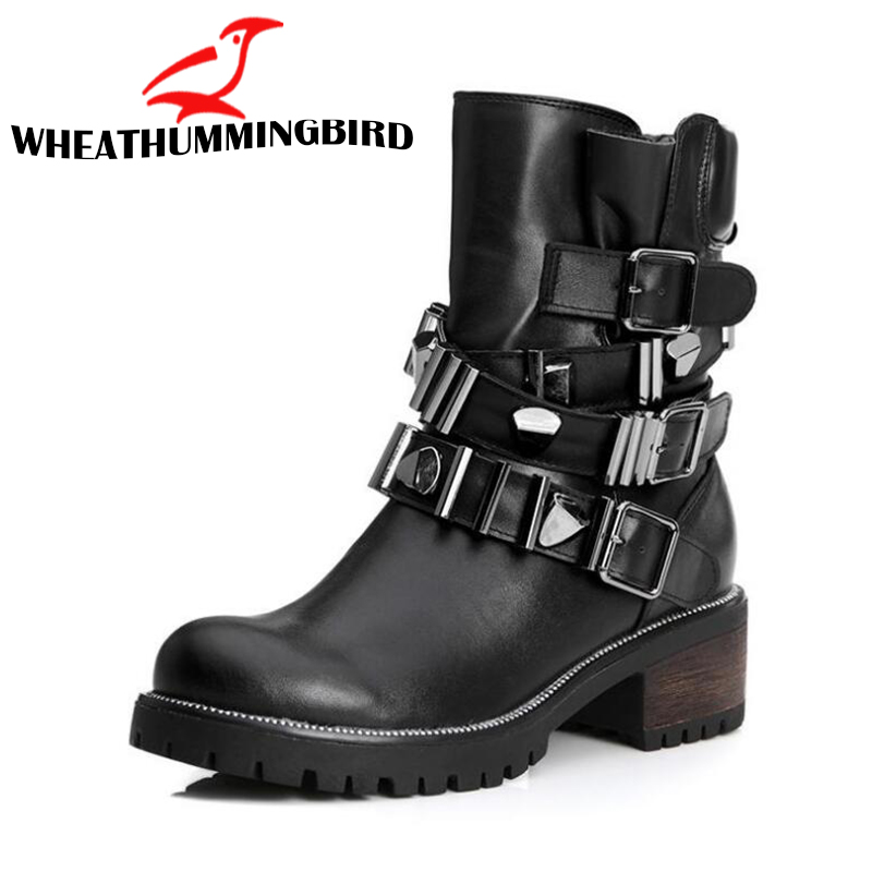 Women Boots Winter high Heels 5cm Ankle Boots Motorcyle Rivets Punk Shoes Woman Warm Genuine leather round toe Short Boots LG-78Women Boots Winter high Heels 5cm Ankle Boots Motorcyle Rivets Punk Shoes Woman Warm Genuine leather round toe Short Boots LG-78