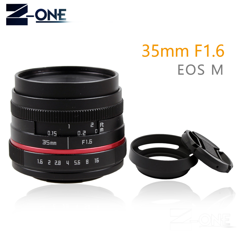 Red 35mm F1.6 Manual Wide Angle Lens for Canon EOS M M2 M3 M5 M6 M10 M100 Mirrorless Camera EF-M image