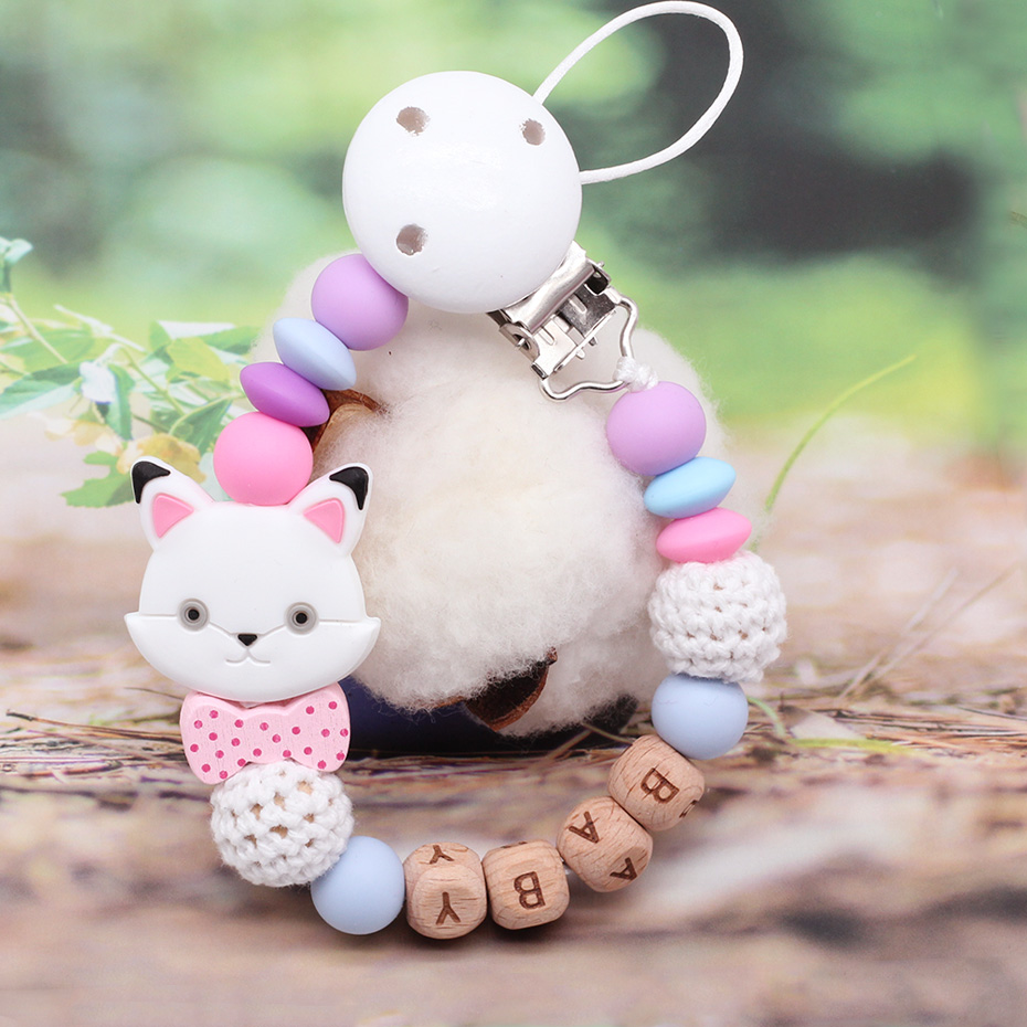 Baby Silicone Beech Pacifier Chain Unicorn Ladybug Multi Select Combination Safe Teething Accessories Bracket Custom Name