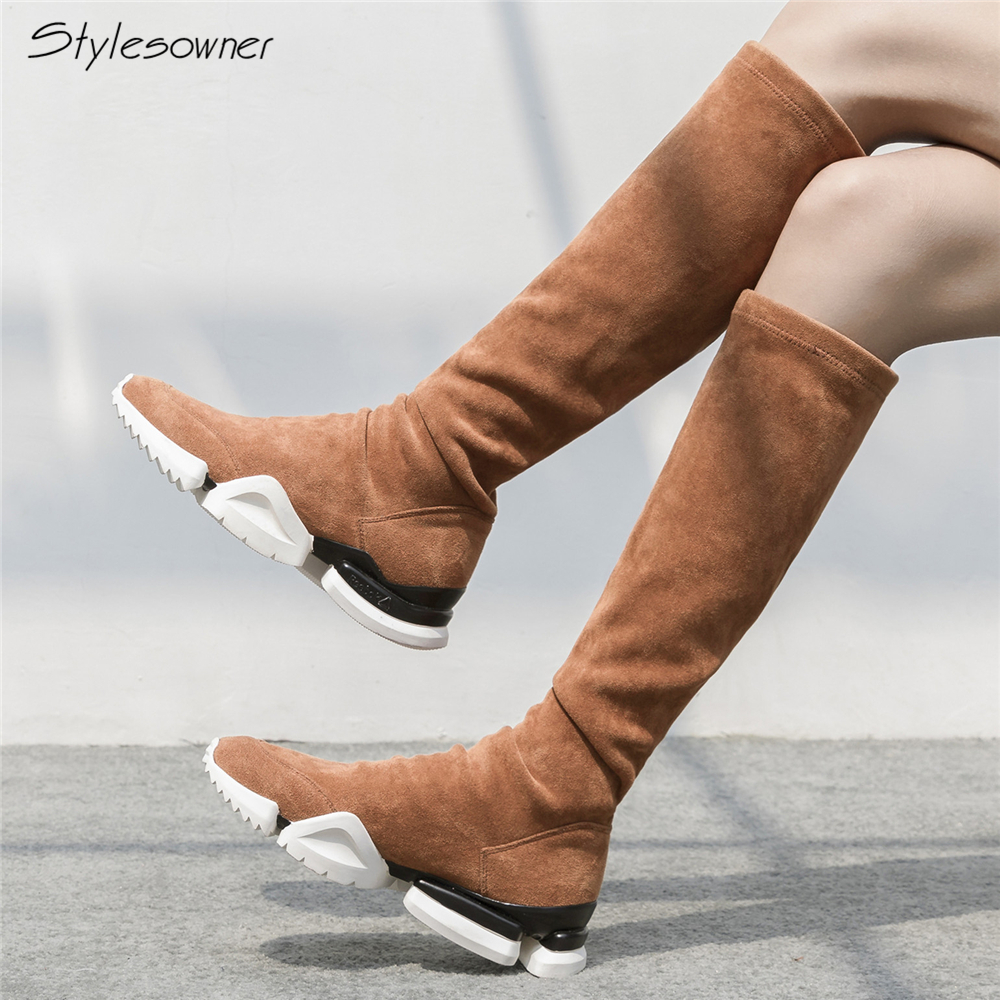 03441892cf6f71 Chaussures forme Sneaker Noir Femme Épais Black Femmes marron Chaussette  Tennis Sole black Genou Plate khaki ...