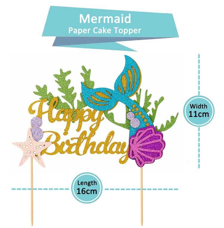 لتقوم بها بنفسك بريق كعكة عيد ميلاد سعيد توبر ذيل حورية البحر قذيفة نجم البحر موضوع فتاة حفلة عيد ميلاد كعكة الديكور استحمام الطفل العرض
