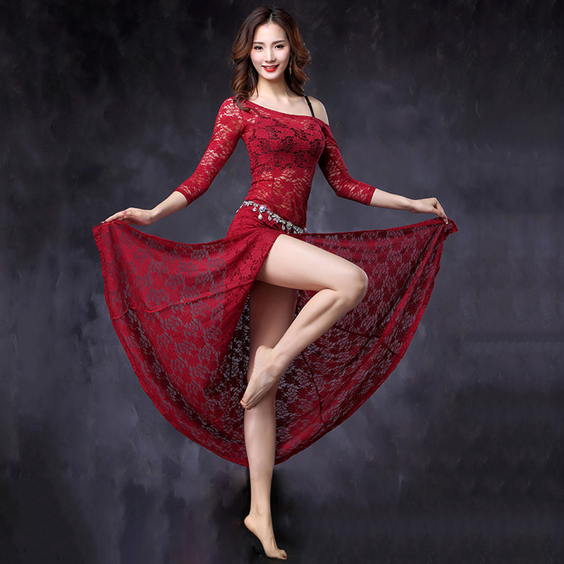 2018 New One-piece Dress Belly Dance Clothing Women Dance Sexy Outfits Dresses Floral Lace Bellydance Costume