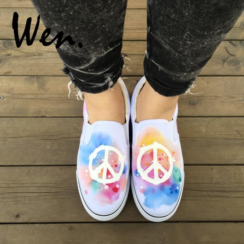 Wen Unisex Slip On Shoes Hand Painted Colorful Peace Logo Original Design White Canvas Sneakers Athletic Skateboarding ShoesWen Unisex Slip On Shoes Hand Painted Colorful Peace Logo Original Design White Canvas Sneakers Athletic Skateboarding Shoes