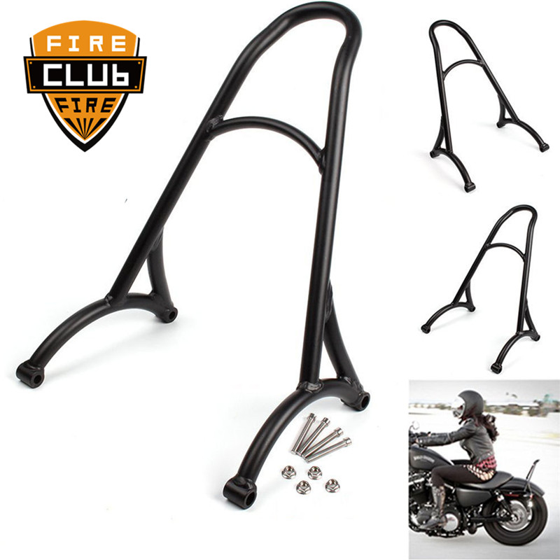 Black Chrome Short Passenger Sissy Bar Backrest Motorcycle For Harley 883 XL1200 1200 Forty Eight 48 Seventy Two 72 2009-2017
