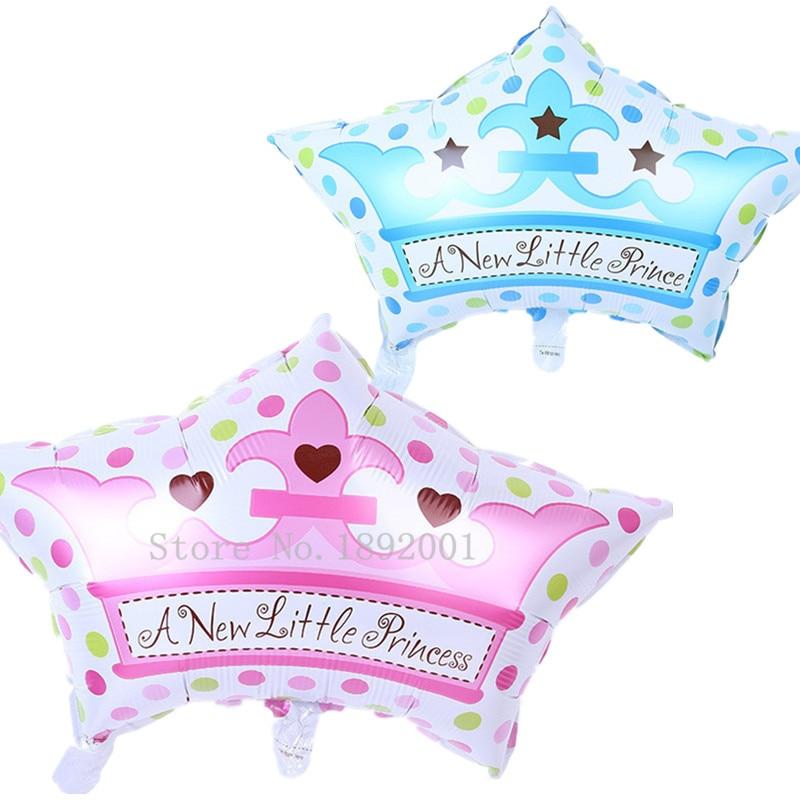 Spedizione gratuita 1 pz nuova esportazione blu rosa corona cap alluminio palloncini compleanno bambino luna piena decorazioni di nozze del partito