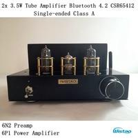 튜브 앰프 무선 블루투스 4.2 싱글 엔드 클래스 a 데스크탑 6n2 프리 앰프 6p1 파워 스테이지 2x3.5 w APT-X hifi 오디오 110/220 v