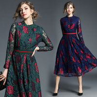 Lace Floral Long Sleeve Tunic Midi Dress Elegant Vintage Sexy Office Party Fashion Dress 2019 Spring Clothing Blue Green