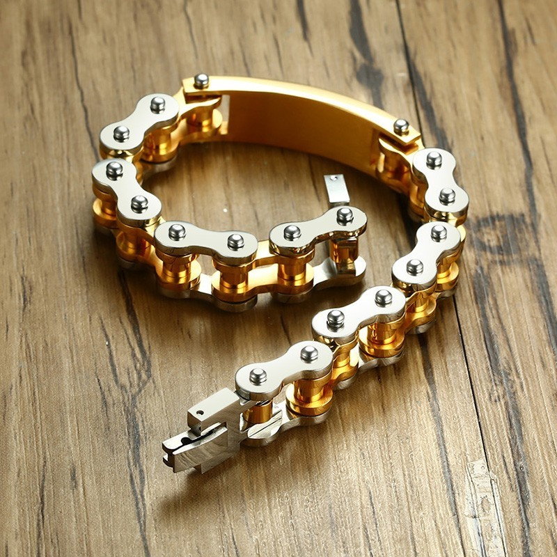 Bike Style Chain Bracelet with Spanish Lord's Prayer Engraved Id Tag