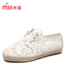 MiJi Women's Breathable Lace Gauze Flat Lace-up  TPR Sole Casual Shoes for woman 2016 new summer fashion MX-93