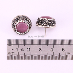 Image 2 - 12Pair Round shape pave crystal rhinestone mix color cat eye stone stud earrings fashion jewelry finding
