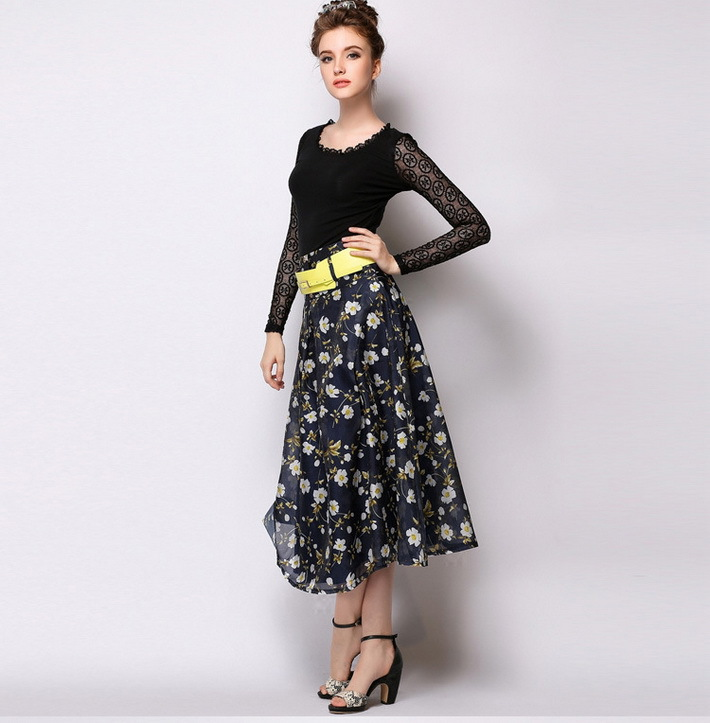 Online Shop 2015 Women Elegant Floral Print Flowy Pleated Midi ...