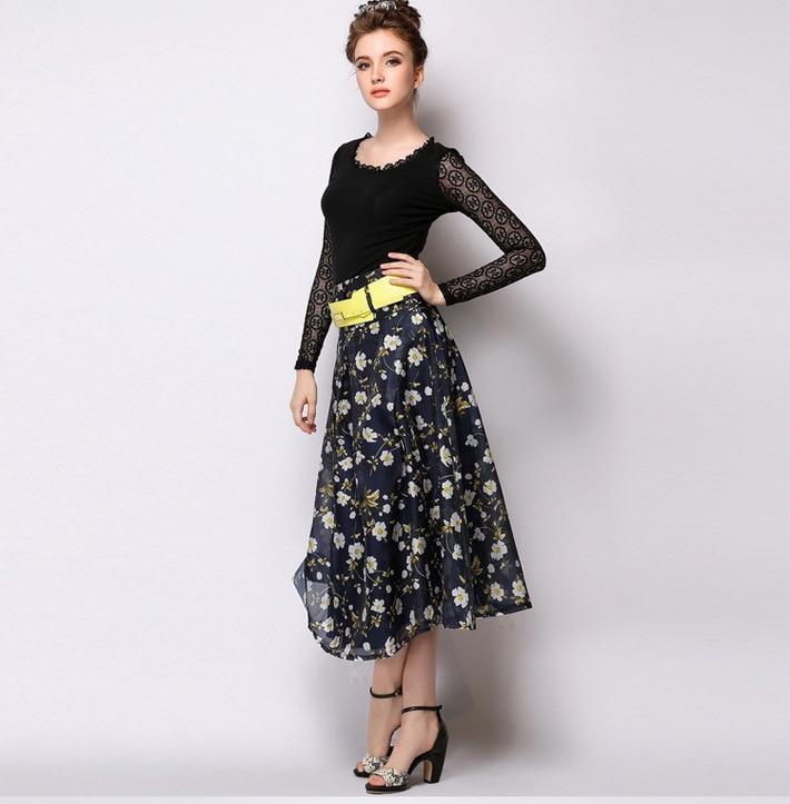 Online Shop 2015 Women Elegant Floral Print Flowy Pleated Midi ...