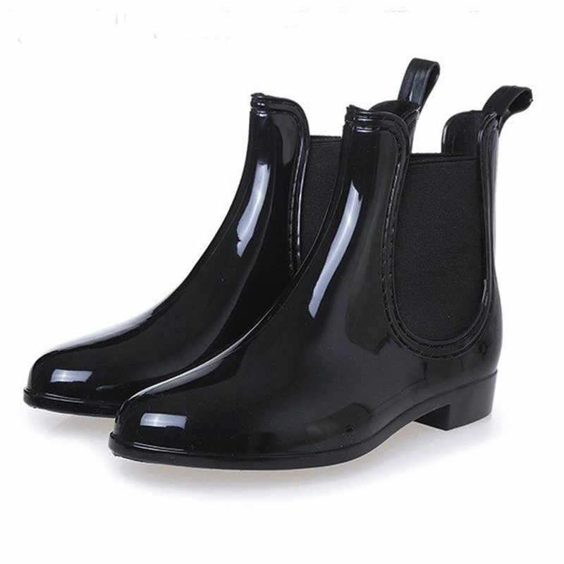 Dropshipping Frühling Winter Stiefel Marke Design Ankle Stiefel Regen Stiefel Elastische Band Schuhe Frau Solide Gummi Wasserdichte Wohnungen