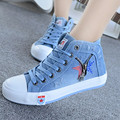 2016 New Arrival Women Shoes Fashion Comfortable denim Casual Women's Shoes Blue High Top Canvas Shoes Woman Flat with