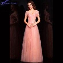 Rosa romântico Rendas SleevesTulle Uma Linha de Curto Vestido de Noite Fomal Longo Vestido de Noite Elegante Vestido de Festa Vestidos de Baile(China (Mainland))