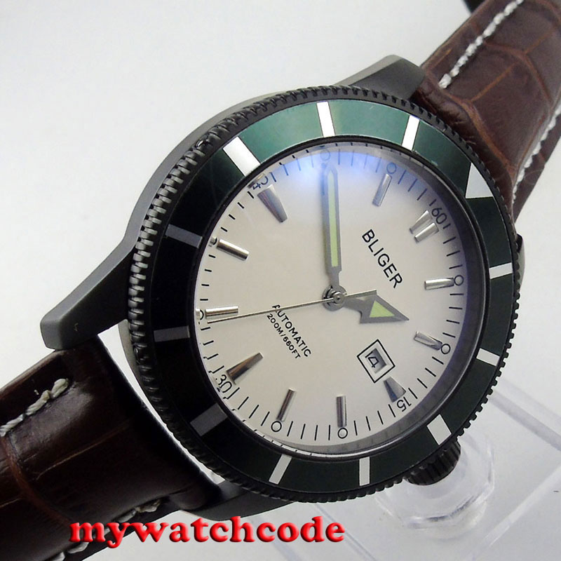 46mm bliger white dial PVD case luminous marks date automatic mens watch B133 цена и фото