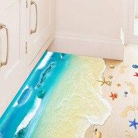 3D Ocean Sand Beach Shell Foot Print Wall Stickers Bathroom Living Room Floor Wall Applique Nursery
