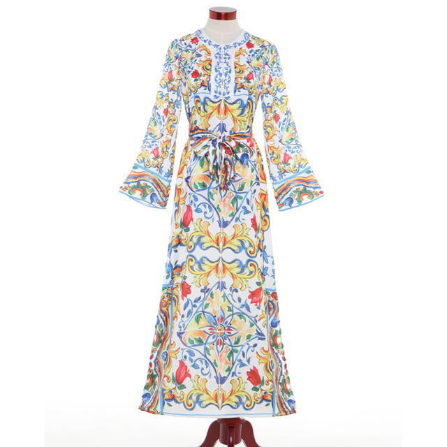 HIGH QUALITY New 2017 Designer Runway Maxi Dress Women's Long Sleeve Charming Floral Printed Slit Vintage Long Dress size S-XXL