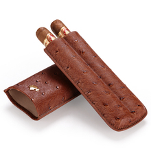 Cigar case portable cow leather ostrich skin cigar moisturizing box holster can store 2 sticks gift boxes CF-0403