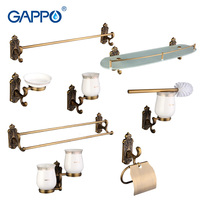 Gappo Bathroom Accessories Towel Bar Paper Holder Toothbrush Holder Glass shelf Toilet Brush Holder Bathroom Sets