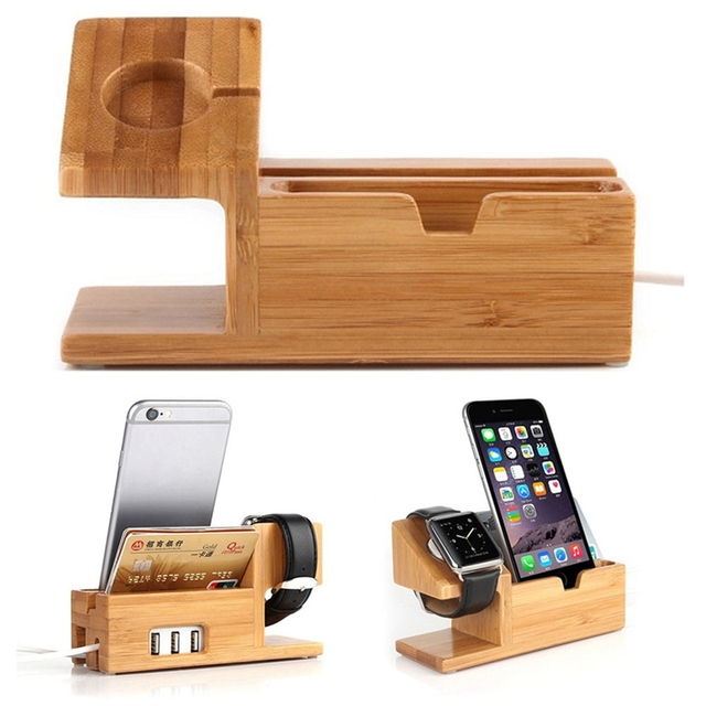 New Wood Bamboo Charging Dock Charger Stand Holder For Samsung Watch Convenient Charger Station Desk