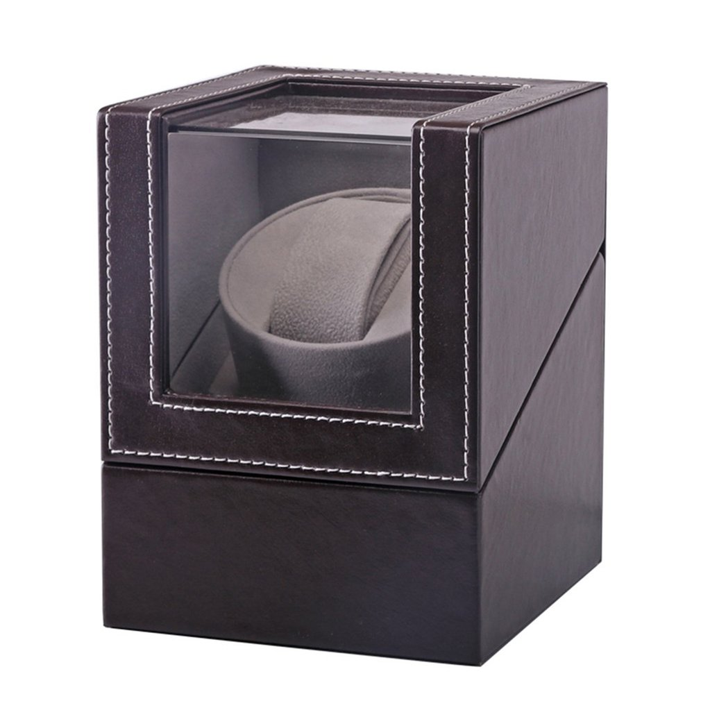 Automatic Mechanical Watch Winder Brown Leather Watch Box High Class Motor Shaker Watch Holder Display Jewelry Box New