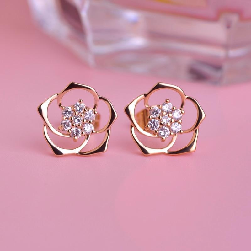 MECHOSEN Kawaii Rose Flower Stud Earrings For Women Girls AAA ...