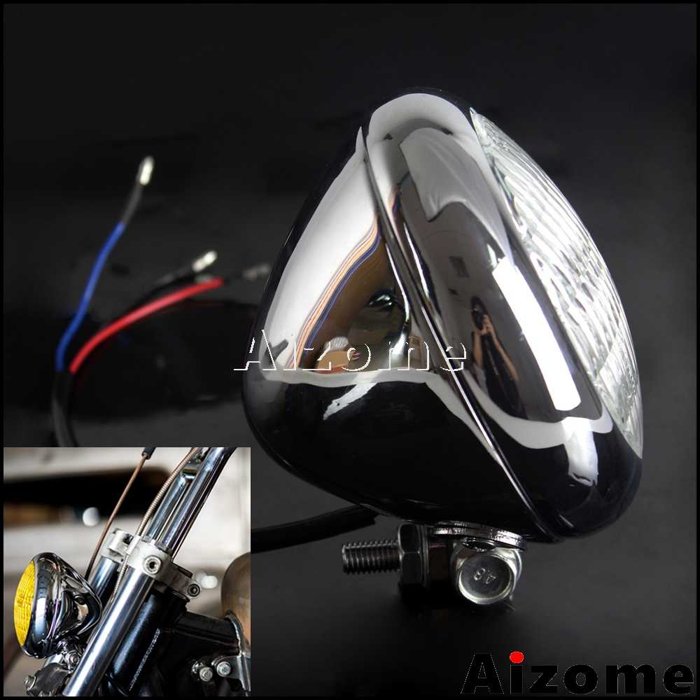 For Harley TRI XS650 Retro Headlamp Chrome Front Headlight Motorcycle H4 Headlight For Triumph BSA Cafe Racer Bobber Chopper