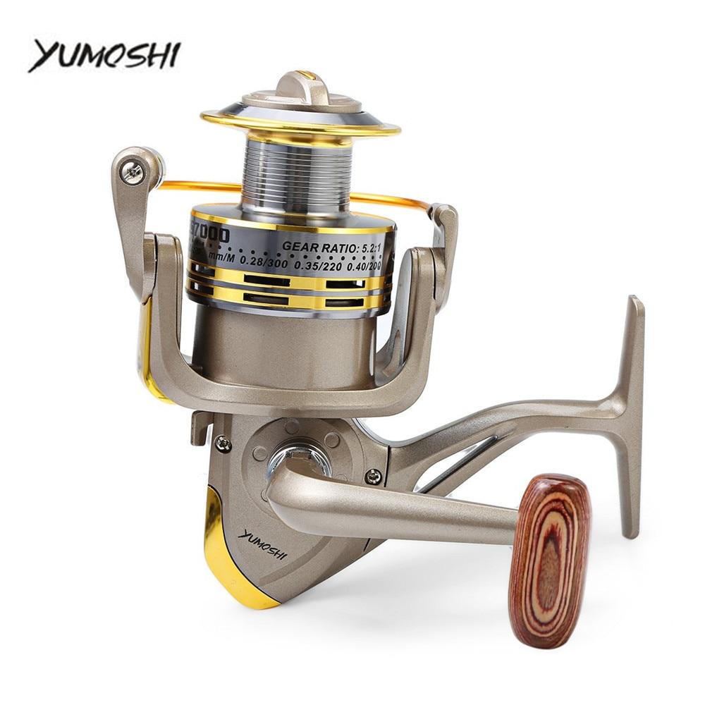 YUMOSHI 8 BB Pesce rapporto 5.1: 1 1000-7000 Serie Bobina di Filatura di Pesca Manovella Carpa Sterzo Pesca bobine Ruota