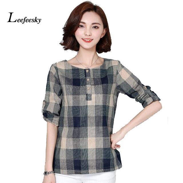 Plaid Shirt Women Cotton Linen Blouse 2017 Autumn Long Sleeve Checked Shirts  Korean Style Female Casual Tops Blusas Femininas 621ed47e9f2a