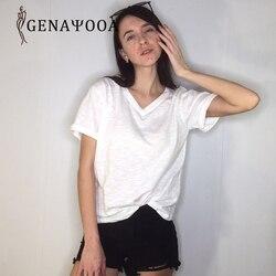 T shirt Women Cotton Basic V Neck Black T Shirt Women Short Sleeve Summer Tshirt Women New Arrivals Women Tops 2019 Harajuku 5