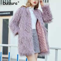 Women Winter Thicken Warm Padded Lining Faux Fur Jackets Coats 2018 New Purple Fake Mongolia Sheep Fur Long Coat Chic Outerwear