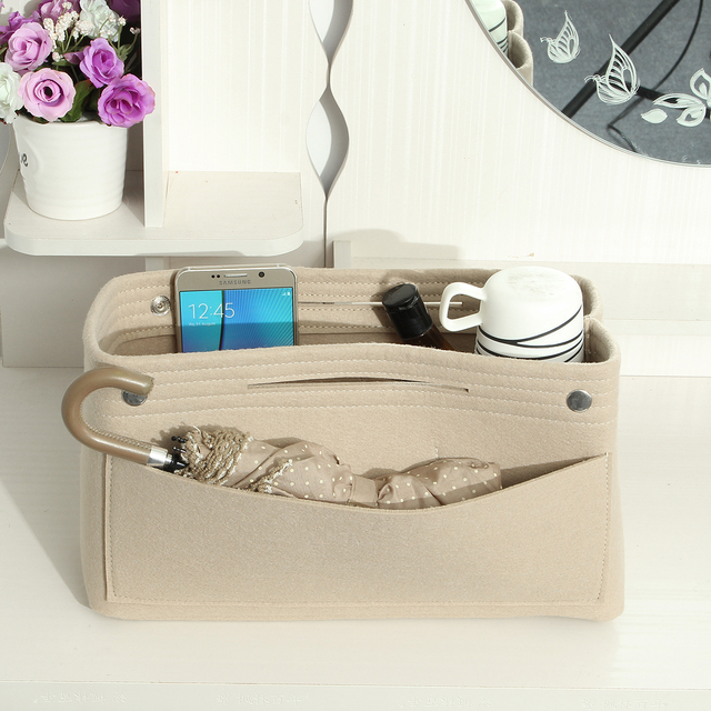 Womens Makeup Bag Large Capacity Felt Cloth Office Desk Storage Handbag Multifunctional Las Travel Cosmetic Jewelry