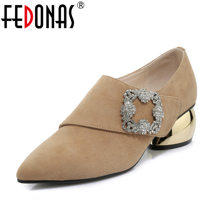 FEDONAS Fashion Women Party Office Pumps Suede Leather Rhinestone Shoes Quality Sexy Pointed Toe Strange Heels