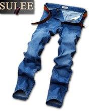 SuLEE Brand Mens Jeans men Regular fit denim Causal pants Washed Blue jeans
