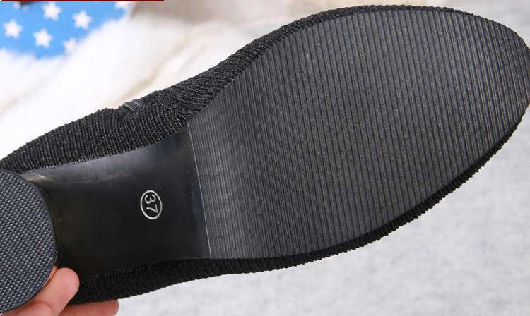 Aleafalling Kar Kadın Sıcak Botlar Örgü 7 cm Yüksek Topuk Platformu Zip Açık Motosiklet Ayak Bileği Olgun Çizmeler Kadın Ayakkabı WBT380