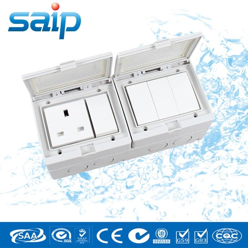 Style anglais 110 ~ 250 V 16A IP55 interrupteur mural étanche 4 Positions avec une prise anglaise (SP-S4S)