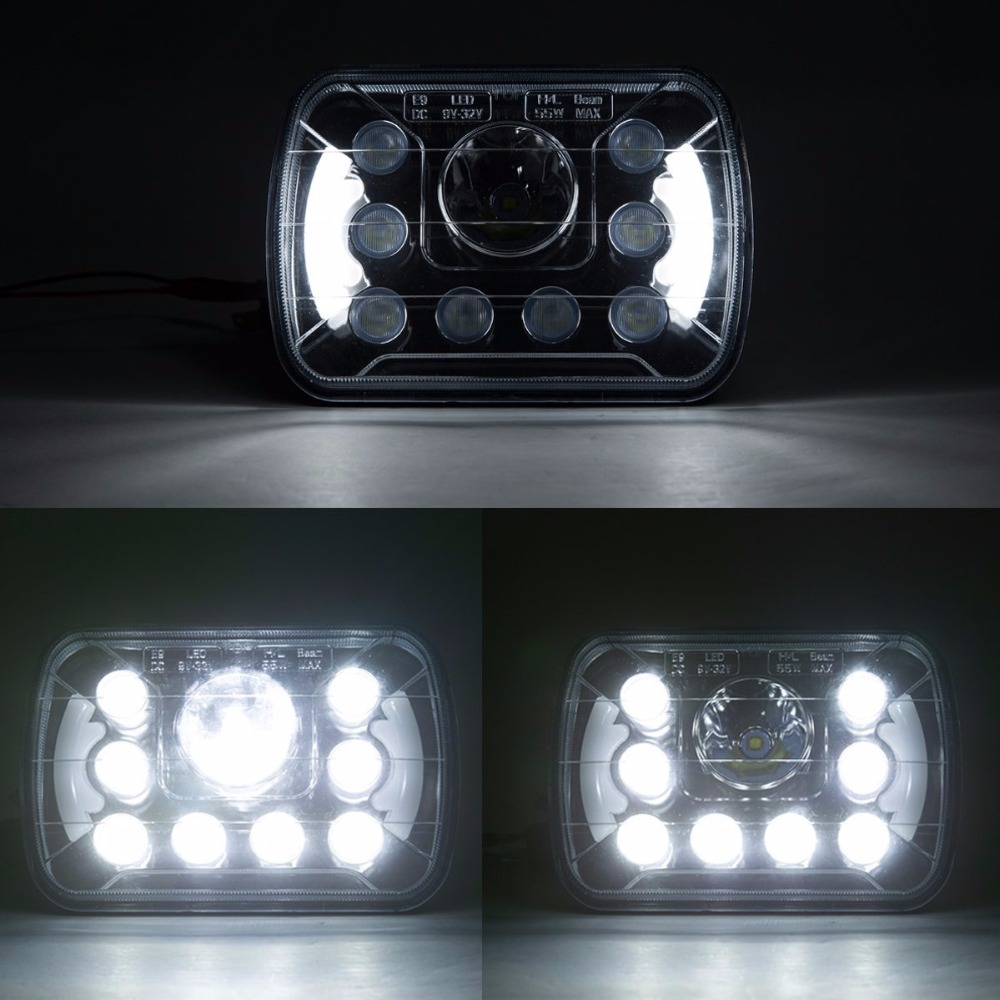 Pair 5x7 inch Angel Eye Headlight DRL High Low Beam Led Headlights For Wrangler YJ Cherokee XJ Trucks 4X4 Offroad 6X7 5 x7 6 x7 high low beam led headlights for jeep wrangler yj cherokee xj h6054 h5054 h6054ll 69822 6052 6053 with angel eye
