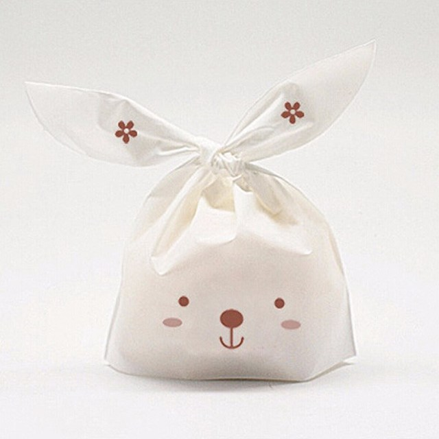 50pcs/lot Cute Rabbit Ear Biscuit Bag Moisture Proof Plastic  Candy Box Cookie Bags Food Cake Gift Packaging Bag Wedding Supply