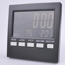 Sale New indoor and outdoor thermometer, large LCD screen digital alarm clock weather station, temperature and humidity,free shipping