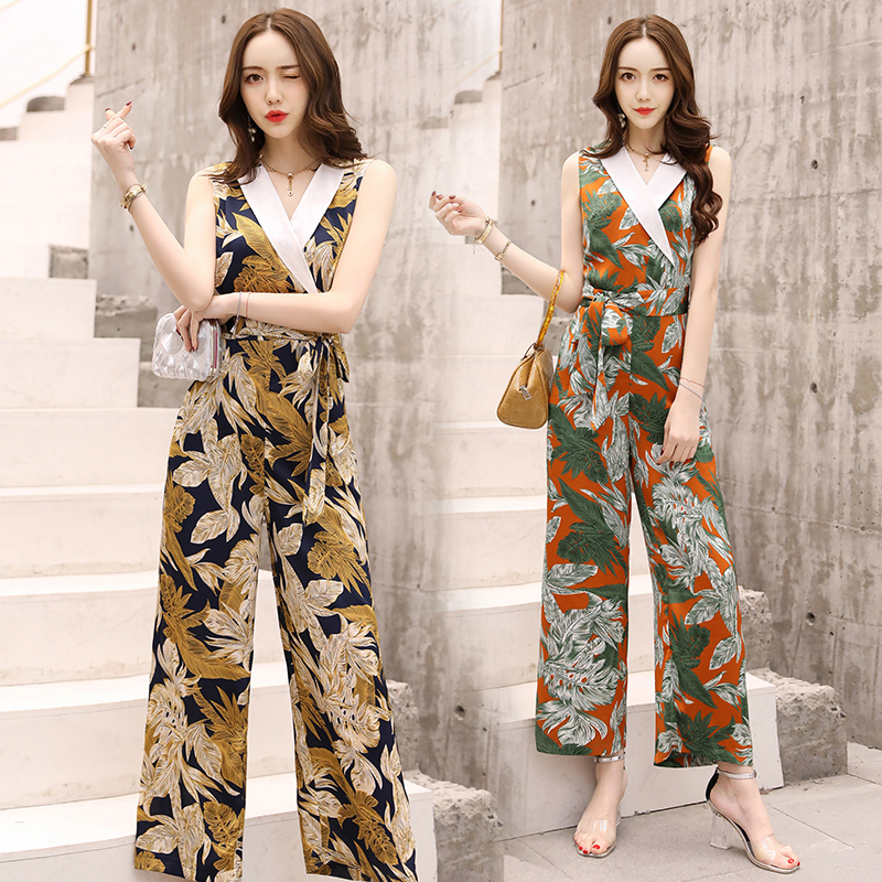 women cute floral print jumpsuit belt pockets sleeveless Criss-cross rompers ladies vintage casual jumpsuits H41801