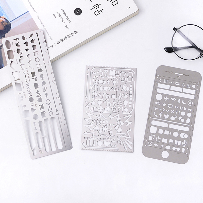 Creative Multifunctional Ruler Stainess Steel Hollow Drawing Stencils Templates Metal Rulers School Supplies Stationery
